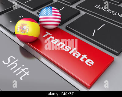 3d translation button on Computer Keyboard. - Stock Photo