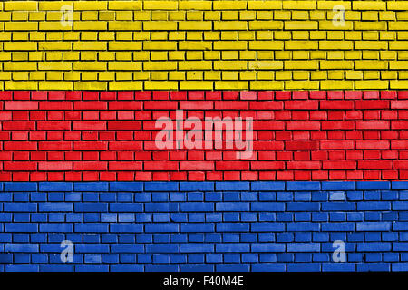 flag of North Holland painted on brick wall - Stock Photo