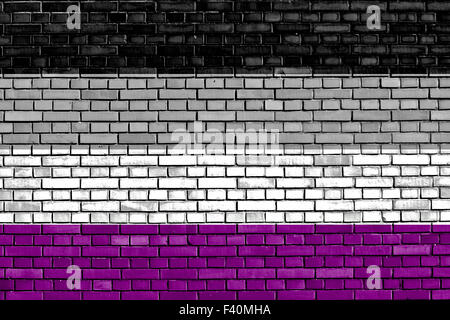 Asexual flag painted on brick wall - Stock Photo