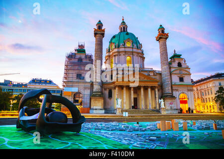 St. Charles's Church (Karlskirche) in Vienna - Stock Photo