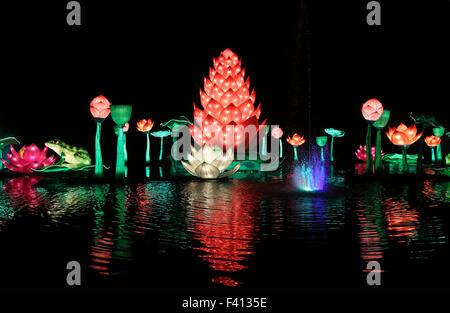 London, UK. 12th Nov, 2014. File photo taken on Nov. 12, 2014 shows flower-shaped lanterns at the illumination ceremony - Stock Photo