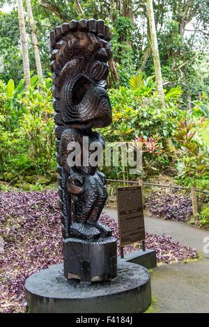 "Tiki, Ku, Hawaiian God. Historic Monkey Pod Tree hand carved by Master Carver William ""Rocky"" Vargas, Hawai'i Tropical Botanical"