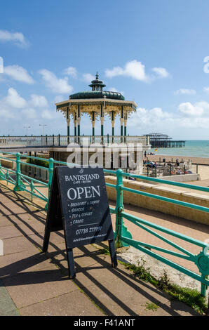 The Bandstand and cafe on the Brighton and Hove seafront in summer, East Sussex, England. - Stock Photo