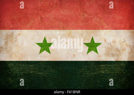Syria flag on grunge old paper background - Stock Photo