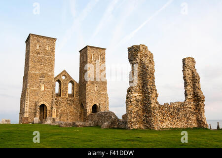 Reculver ruins in England. Ruin, St Mary's church, 12th century twin towers, built upon ruins of earlier Anglo-Saxon - Stock Photo