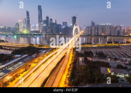 light trails on the liede bridge - Stock Photo