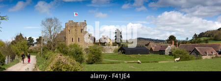 UK, England, Shropshire, Craven Arms, Stokesay Castle South Tower and farm, panoramic - Stock Photo