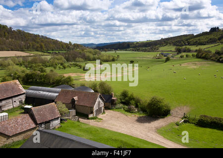 UK, England, Shropshire, Craven Arms, farmland beside Stokesay Castle in River Onny Valley - Stock Photo