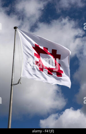 UK, England, Shropshire, Craven Arms, English Heritage flag flying in blue sky - Stock Photo