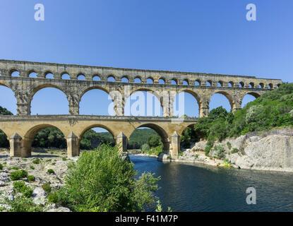 Pont du Gard, ancient Roman aqueduct, Vers-Pont-du-Gard, Languedoc-Roussillon, France - Stock Photo