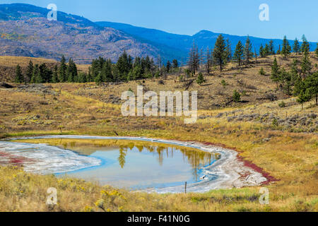 Paint Pots in the mountainous landscape of British Columbia, near Kamloops,  along Trans-Canada Highway, Canada. - Stock Photo