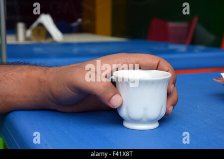 arabic man drinking lebanese coffee - Stock Photo