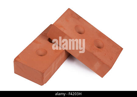 Red building brick isolated on white - Stock Photo