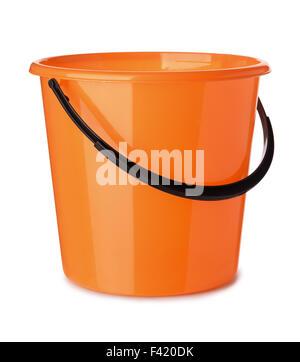 Orange plastic bucket isolated on white - Stock Photo