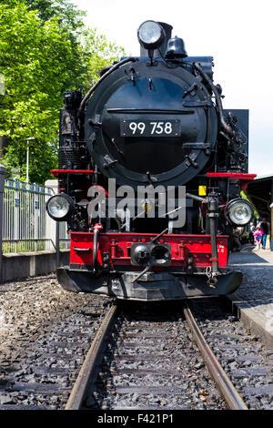 Steam train on the Zittau Railway,Saxony ,Germany. - Stock Photo