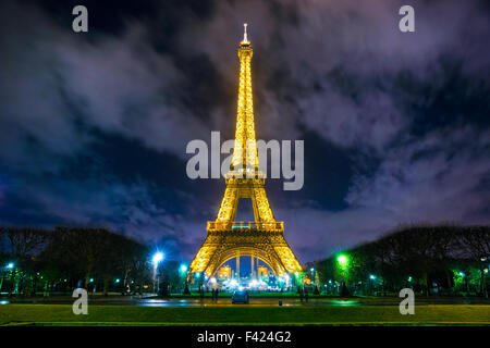 PARIS - DECEMBER 05: Lighting the Eiffel Tower on December 05, 2012 in Paris. Established in 1985, the new system - Stock Photo