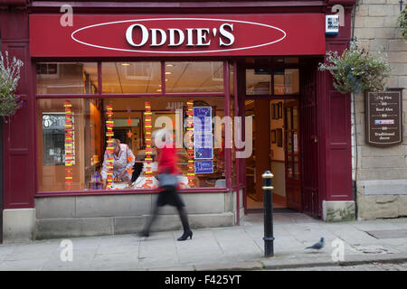 Oddies Family Bakery, bakery, dessert, cake, food, chocolate, sugar Shops and streets of Colne in Lancashire, UK - Stock Photo