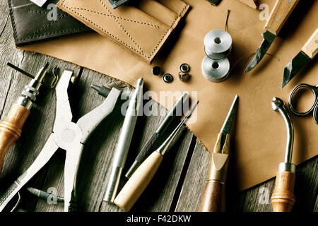 Leather crafting tools - Stock Photo