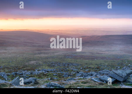 Rain clouds gathering at sunset from West Mill Tor near Okehampton on Dartmoor National Park in Devon - Stock Photo