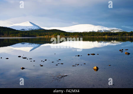 Snowy Carn Eilrig reflected in the calm waters of Loch Morlich, winter, Cairngorms  Scottish Highlands, Scotland - Stock Photo