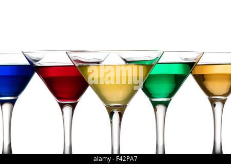 color cocktails in martini glasses - Stock Photo