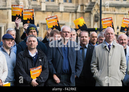 Westminster, London, October 14th 2015. Members of the FBU gather outside Parliament as they prepare to lobby MPs - Stock Photo