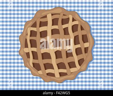 an illustration of a chocolate tart viewed from above with a pastry case and a criss cross design on top - Stock Photo