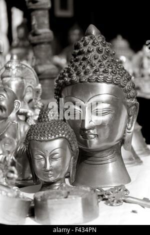 lord buddha metal statue - Stock Photo
