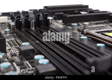 Electronics components on modern PC computer - Stock Photo