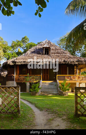 Antique colonial house La Digue island Seychelles Indian Ocean