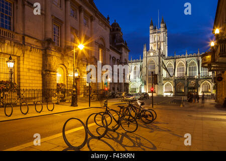 Evening at Bath Abbey and Guildhall in Bath, England. - Stock Photo