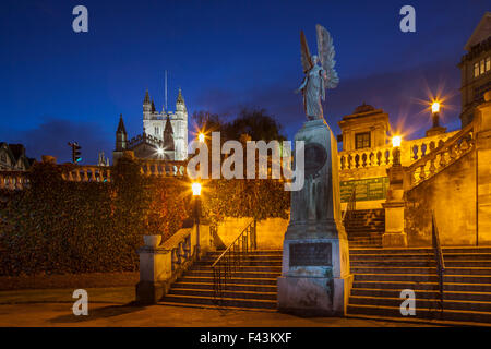 Dusk in Parade Gardens in Bath, England. Bath Abbey in the distance. - Stock Photo