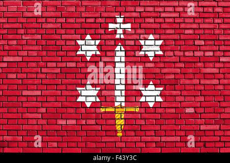 flag of Haarlem painted on brick wall - Stock Photo