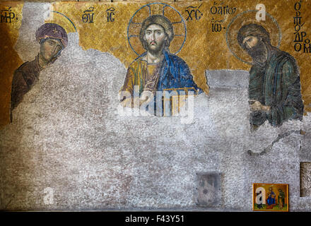 The Deesis mosaic in Hagia Sophia, Istanbul - Stock Photo