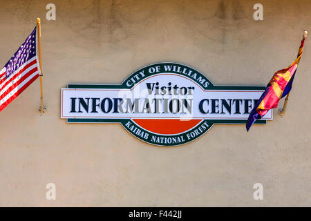 City of Williams AZ Visitor Information Center wall sign - Stock Photo