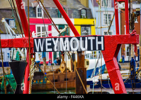 Weymouth sign, in the harbour, Dorset, UK - Stock Photo