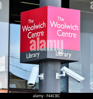 South London England UK sign outside the Woolwich Centre entrance and public library complete with CCTV cameras - Stock Photo