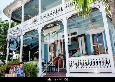 Key West Florida Keys Duval Street Bagatelle restaurant front entrance - Stock Photo