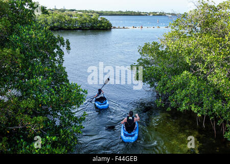 Florida Keys Route 1 Overseas Highway Key Largo John Pennekamp Coral Reef State Park Largo Sound man woman couple - Stock Photo