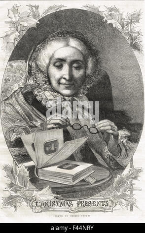 Victorian Old Lady with Christmas Presents 1862 - Stock Photo