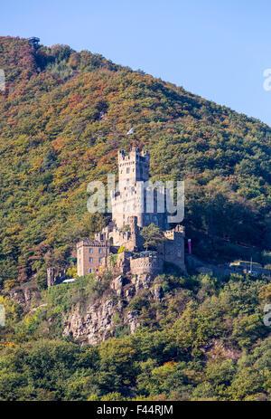 Burg Sooneck castle, in Niederheimbach, Rheingau, the UNESCO World Heritage Upper Middle Rhine Valley - Stock Photo
