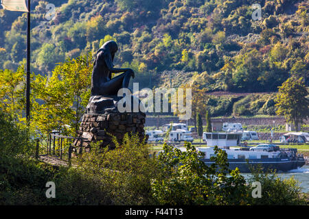 Loreley Mermaid statue in the harbor mole,  Rhine harbor at St. Goar,  Upper Middle Rhine Valley - Stock Photo