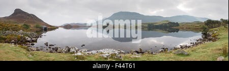 Panorama of Dawn over Cregennan lakes, Gwynedd, Snowdonia National Park, North Wales, UK - Stock Photo