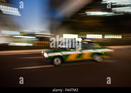 Japanese taxi with motion blur - Stock Photo