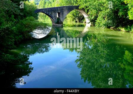 Puente de la Magdalena (Magdalen Bridge) in Pamplona, Navarre, Spain - Stock Photo