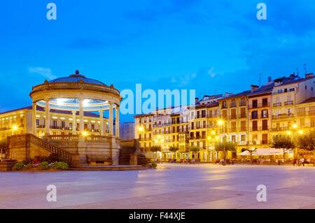 Bandstand in Plaza del Castillo, Pamplona, Navarre, Spain - Stock Photo