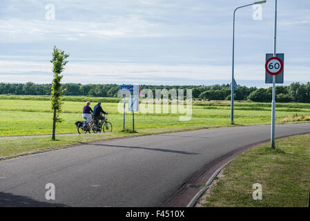 3 July, 2014  Bicycle road from Midsland to the beach with a planted forest in between.  Op de fiets Midsland uit. - Stock Photo