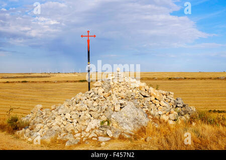The Cross of Saint James as used by the Order of Santiago on the Way of Saint James (Camino de Santiago), Castile - Stock Photo