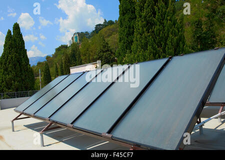 Solar Heat Collector Panels To Heat Hot Water And Western