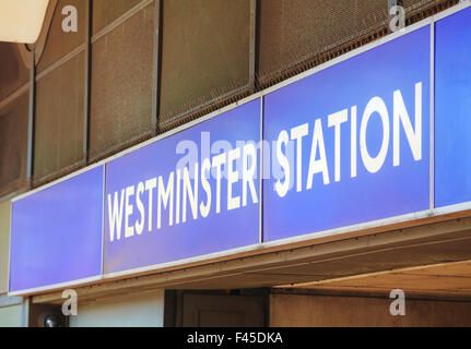 London Westminster underground station sign - Stock Photo